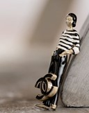 Sculpted Coco Chanel Figurine Brooch