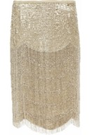 Theresa beaded silk-blend lamé skirt
