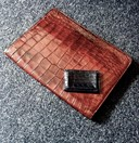 Vintage crocodile folder + YSL crocodile card holder