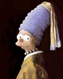 MARGE SIMPSON AS GIRL WITH A PEARL EARRING BY VERMEER  REMASTERED BY DAVID BARTON