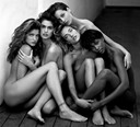 Stephanie, Cindy, Christy, Tatjana, Naomi, Hollywood, 1989 by Herb Ritts