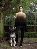 JOAN SMALLS IN GIVENCHY BY RICCARDO TISCI HAUTE COUTURE A/W12 WITH GERMAN SHEPHERD