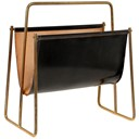 1950s Carl Aubock leather sling and brass large magazine rack
