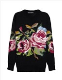 DOLCE & GABBANA Rose-patterned wool sweater