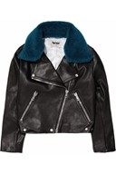 Acne Rita detachable contrast-collared leather jacket