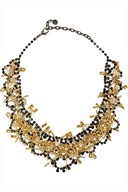 Tom Binns gold plated safety pins & swarovski crystal necklace