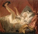 Young woman playing with a dog by Fragonard