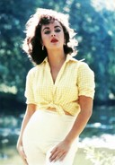 Elizabeth Taylor in yellow and white gingham
