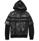 Givenchy Double-Sleeved Leather-Stripe Cotton Bomber Jacket