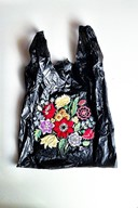 Embroidered plastic bag