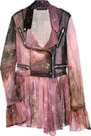 Christopher Kane / Galaxy-print silk-chiffon biker jacket