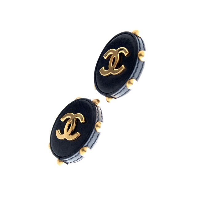 Chanel - Chanel Logo Earrings Leather and Studs