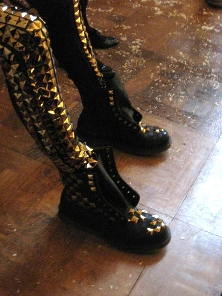 Gold studded leggings and boots