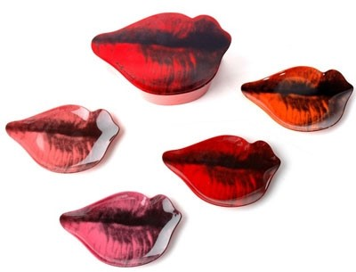 Andy Warhol Lips pop art plate set