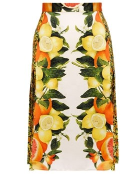 Pleated silk skirt with citrus-print by Stella McCartney