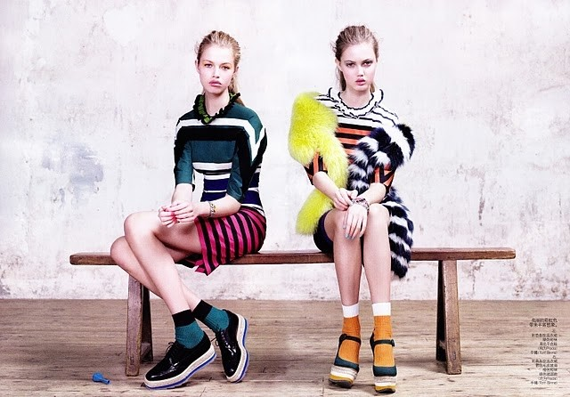 Lindsey Wixson and Hailey Clauson in Prada S/S11