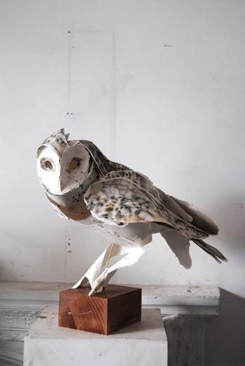 Paper Owl sculpture by Anna-Wili Highfield