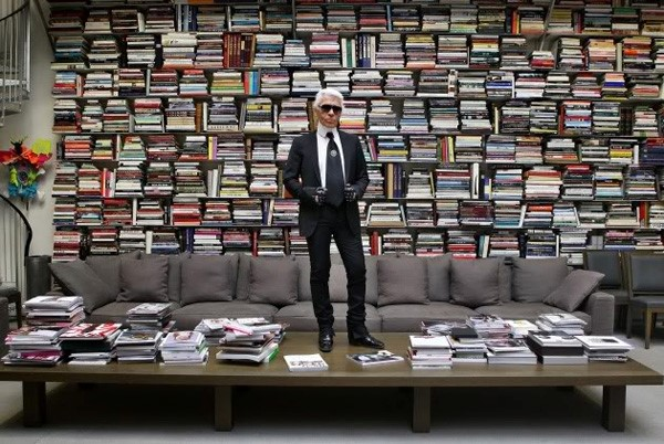Karl Lagerfeld's wall library