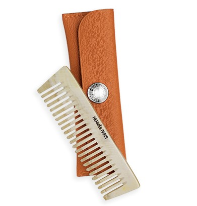 Hermes 'Mane' comb for Horses, Ox Horn with Aniline Goatskin Case