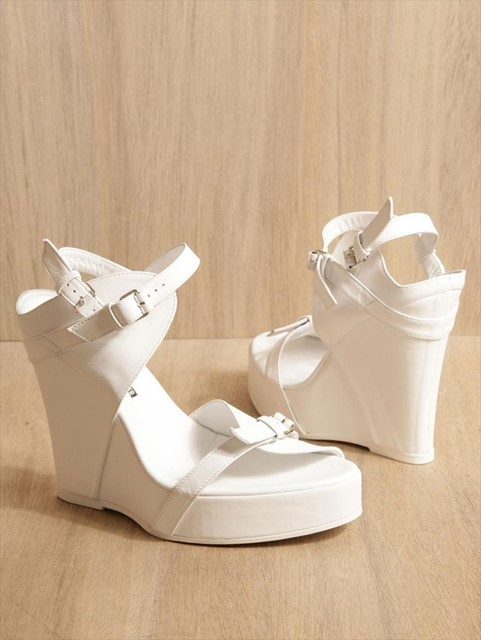 Ann Demeulemeester white leather wedges