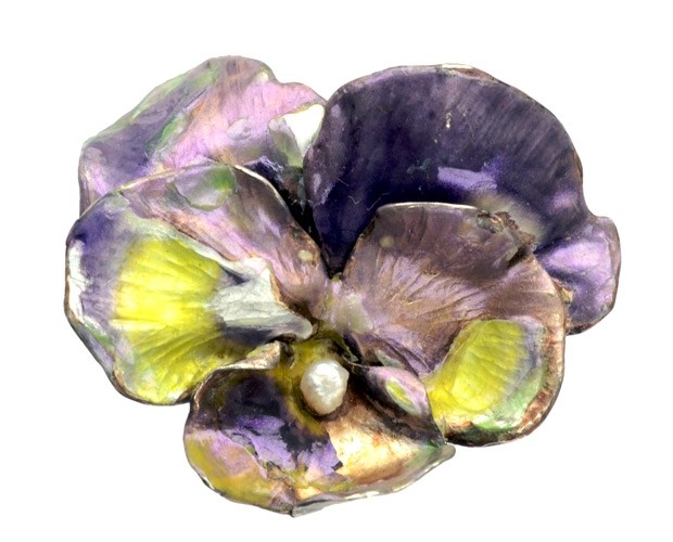 Early 1900s French Enamel Pansy Brooch