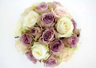 Hand-tied pastel rose bouquet