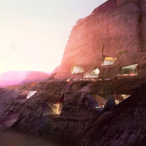 Wadi resort by Oppenheim Architecture + Design - Carved into the cliff face