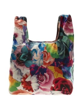 Large silk twill market bag with floral-print by Jil Sander