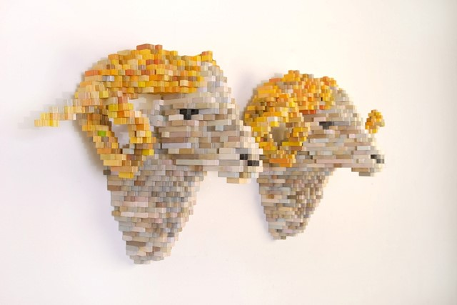 8-bit pixel wood sculptures by Shawn Smith