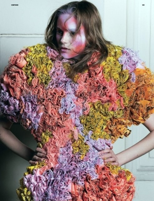 Juju Ivanyuk in Maison Margiela Spring 2011 Couture for Dazed and Confused April 2011