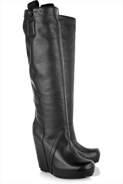 Rick Owensleather wedge knee boots