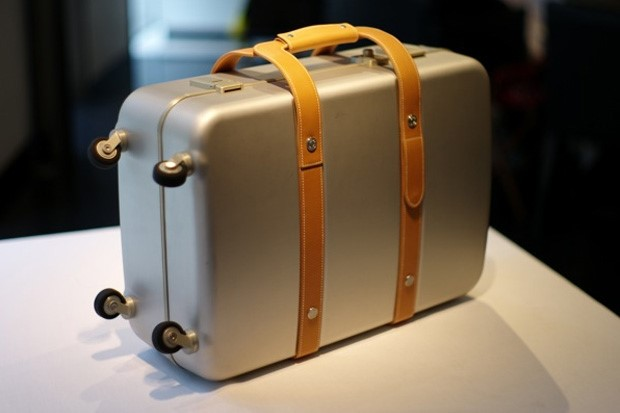 Hermès aluminium and leather suitcase