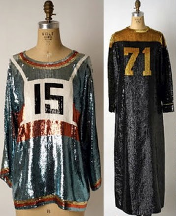 Geoffrey Beene American football jersey inspired evening gowns, 1967