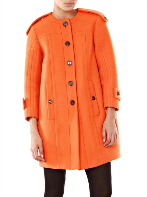 Burberry Prorsum wool collarless tangerine coat