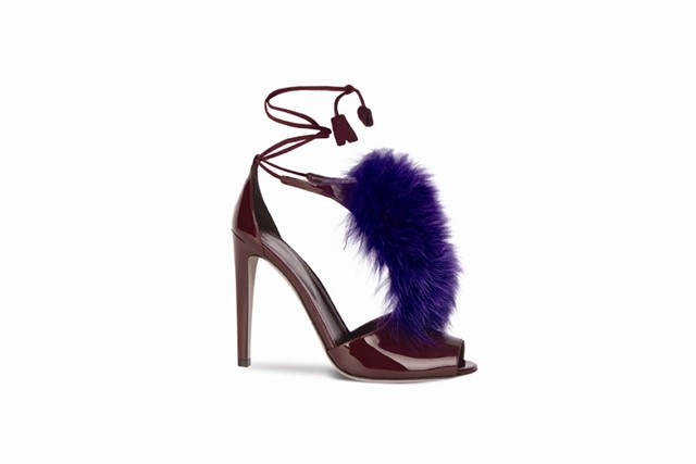 Patent leather and fur sandals by Sergio Rossi