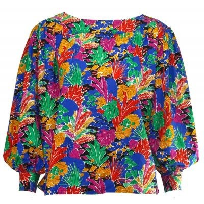 Yves Saint Laurent 1970s tropical print top