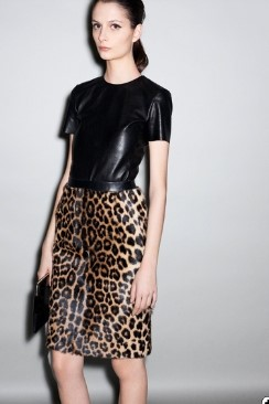 Leopard print skirt & leather T-shirt by CÉLINE