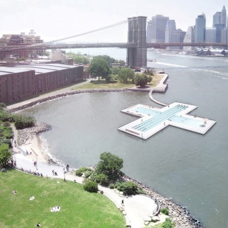 Design for a floating swimming pool in New York