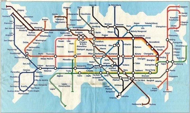 Tube map of the World