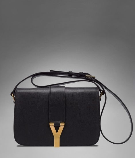 Medium YSL Chyc Flap Bag in Black Textured Leather