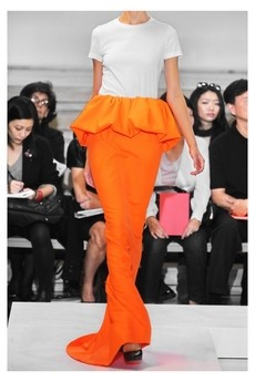Jil Sander orange twill peplum maxi skirt