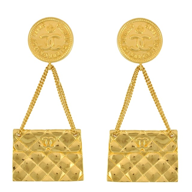 Vintage Chanel Quilted Bag 2.55 Earrings
