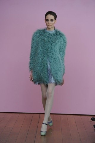 Philosophy di Alberta Ferretti A/W11 blue shearling coat