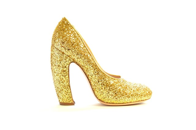 Miu Miu A/W11 banana-heeled gold glitter pumps