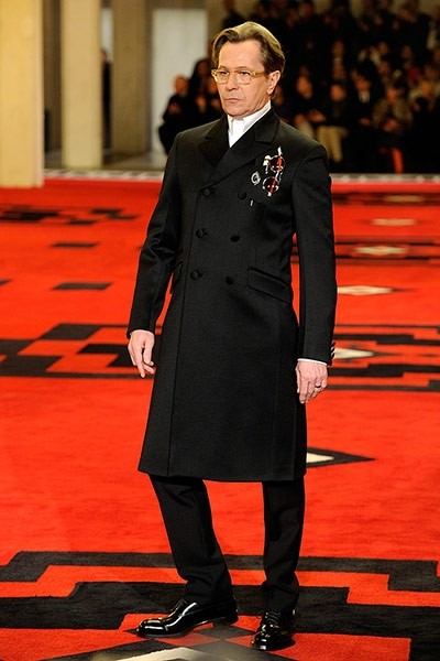 Gary Oldman on the Prada catwalk