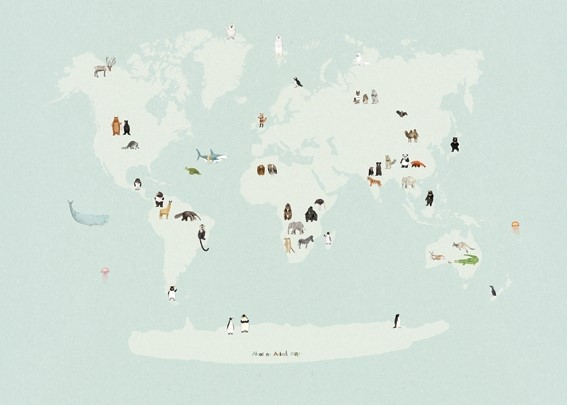 Almost an Animal World Map by Katie Viggers