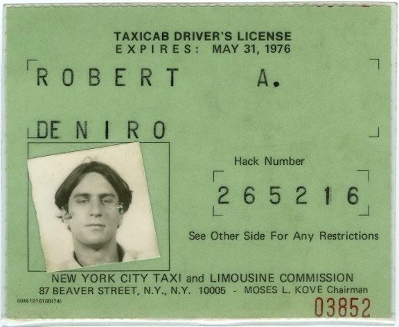 ROBERT DE NIRO'S TAXICAB LICENSE