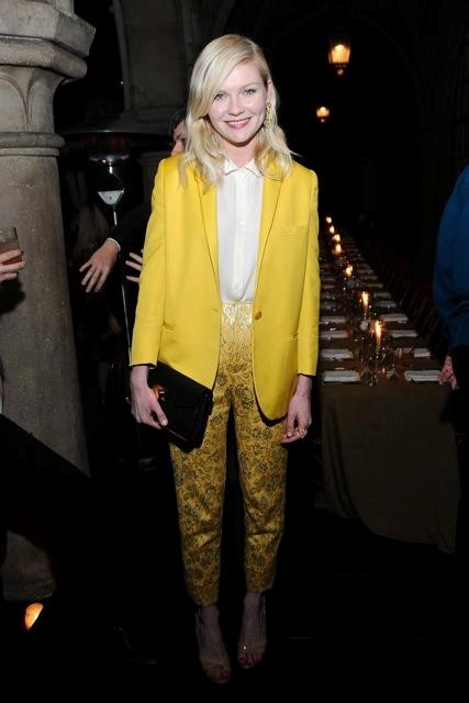 Kirsten Dunst in yellow brocade Rodarte