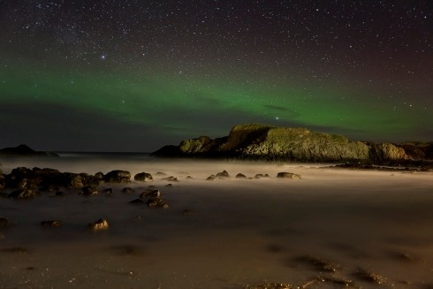 The Northern Lights viewed from Balintoy Harbor, Northern Ireland