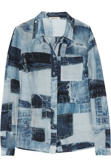 Denim print silk shirt by Emma Cook